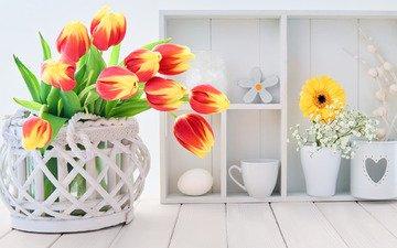 цветы, букет, тюльпаны, корзинка, декор, anya ivanova