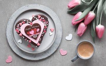 кофе, букет, сердечки, тортик, anya ivanova
