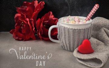 цветы, чашка, зефир, день святого валентина, горячий шоколад, anya ivanova