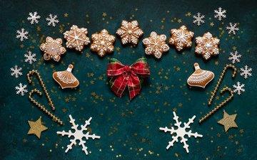 новый год, снежинки, рождество, печенье, бантик, пряники