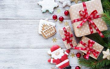 ветка, новый год, подарки, печенье, сосна, новогодние украшения, olena rudo, новогоднее печенье