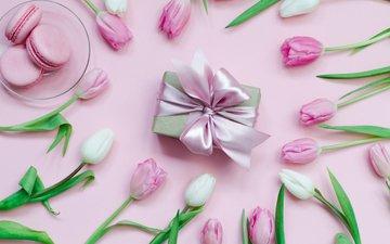 цветы, бутоны, тюльпаны, лента, подарок, бант, макаруны, 100