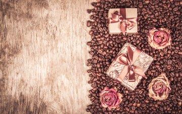 бутоны, розы, подарки, кофейные зерна, деревянная поверхность, 146