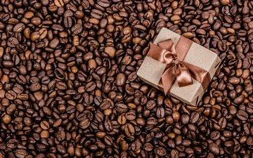 лента, подарок, праздник, коробка, кофейные зерна
