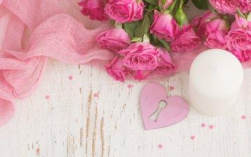 розы, сердце, букет, розовые