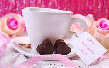 розы, кофе, конфеты, розовые, лента, сердечки