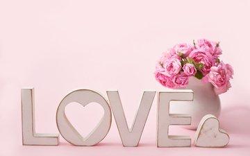 цветы, сердечко, любовь, букет, ваза, влюбленная