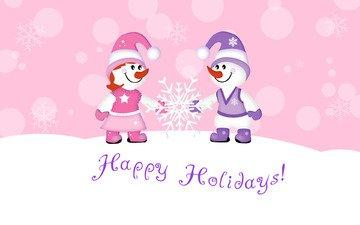 рисунок, новый год, фон, праздник, рождество, снеговики, снежинка