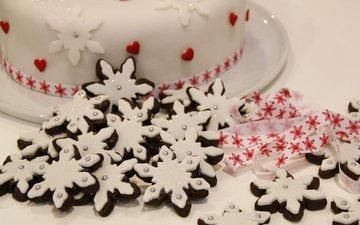 новый год, снежинки, лента, праздник, рождество, печенье, торт, угощение