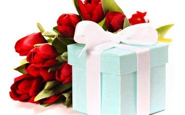 красные, букет, тюльпаны, лента, подарок, праздник, natalia klenova