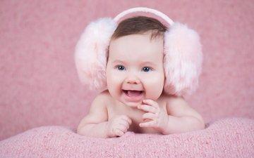 улыбка, лежит, лицо, ребенок, глазки, малышка