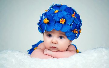 глаза, цветы, взгляд, дети, девочка, ребенок, младенец, малышка