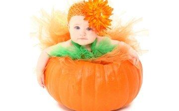 цветок, девочка, ребенок, маленькая, тыква, малышка, красотуля