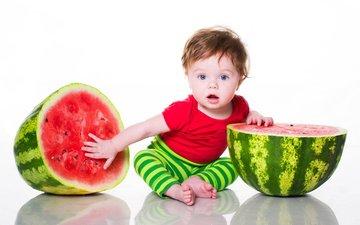 дети, арбуз, белый фон, ребенок, мальчик, младенец, голубоглазый