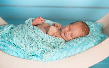 улыбка, ребенок, мальчик, малыш, младенец, мех, спящий, кроватка, новорожденный