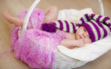 дети, корзина, ребенок, шапка, малыш, младенец, шапочка, платок, колпачок