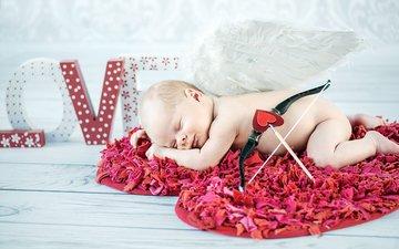 сон, крылья, буквы, сердце, доски, пол, лук, стрела, ребенок, малыш, младенец, амур, купидон, коврик, голыш