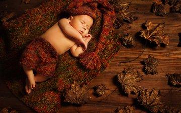 листья, листва, сон, дети, ребенок, спящий, младенец грудной ребёнок