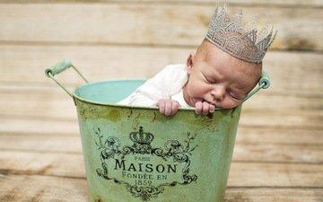 сон, дети, ребенок, малыш, младенец, корона, таз