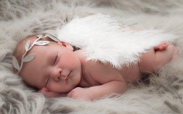 сон, дети, ангел, ребенок, младенец, спящий