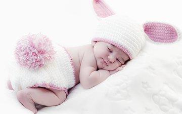сон, ушки, ребенок, одеяло, малыш, младенец, шапочка, зайчик, хвостик