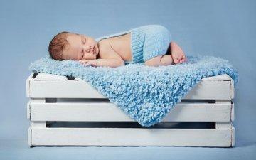 дети, спит, ребенок, малыш, младенец, ящик