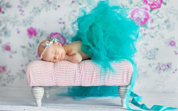платье, спит, девочка, бантик, малышка, ребёнок., konrad bak, бирюзовое