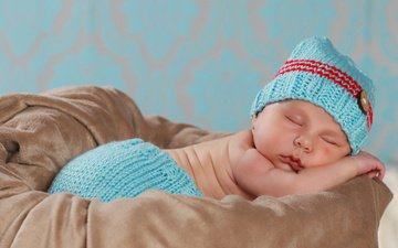 сон, ребенок, малыш, младенец, шапочка