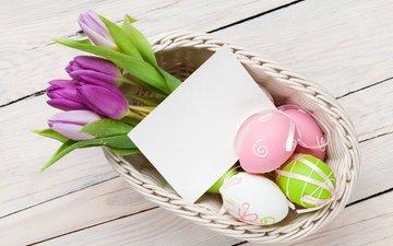 букет, тюльпаны, пасха, яйца, праздник, декор, козинка, крашеные яйца
