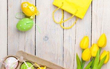 весна, тюльпаны, пасха, яйца, праздник