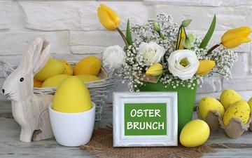цветы, пасха, яйца, праздник