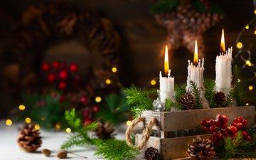свечи, новый год, елка, хвоя, ветки, праздник, рождество, шишки, ящик, композиция