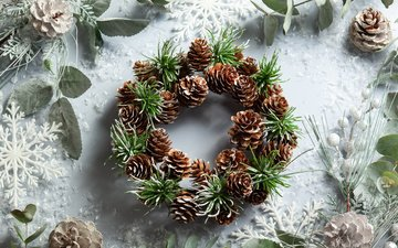 новый год, снежинки, праздник, рождество, шишки, композиция, декор, новогодний венок