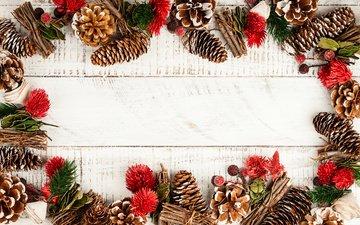 новый год, рождество, шишки, новогодние украшения, композиция