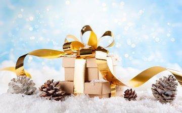 снег, новый год, подарки, праздник, рождество, шишки, композиция