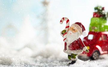 снег, новый год, машина, подарки, дед мороз, фигурки, игрушки, праздник, рождество, санта клаус, композиция
