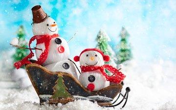 снег, новый год, елки, праздник, рождество, снеговики, санки