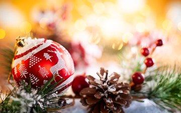 новый год, шар, шишка, праздник, рождество, новогодние украшения, композиция