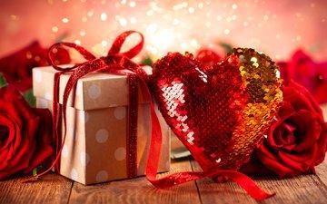 новый год, розы, сердечко, блеск, букет, подарок, рождество, красная роза, день святого валентина, романтические, любовь сердце