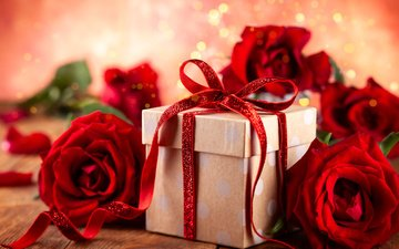 цветы, розы, красные, букет, подарок, праздник