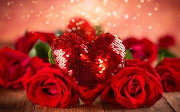 сердце, блеск, любовь, подарок, красные розы, любовь сердце