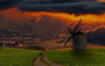небо, дорога, облака, закат, поле, птицы, ветряная мельница