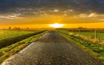 небо, дорога, природа, закат, поле