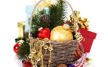 новый год, шары, бусы, рождество, новогодние украшения, декор