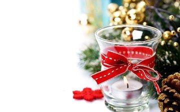новый год, лента, свеча, праздник, рождество, украшение, декор, natalia klenova