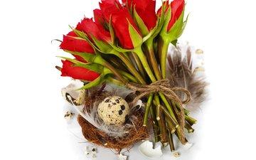 розы, пасха, яйца, праздник, корзинка, композиция, natalia klenova