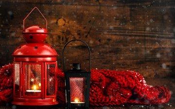 новый год, фонарь, свеча, рождество, фонарики, шарф, рождественский фонарь