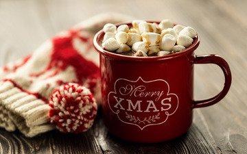 новый год, украшения, кружка, рождество, зефир, горячий шоколад, маршмеллоу, зефирки