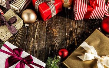 новый год, подарки, лента, рождество, бант, коробки, новогодние украшения