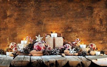 новый год, украшения, подарки, свечка, свеча, рождество, новогодние украшения